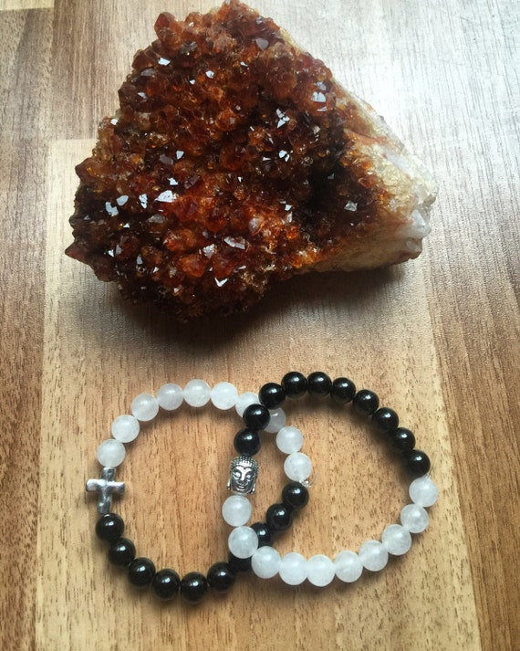Quartz and Obsidian Stretch Bracelet with Charm customizable