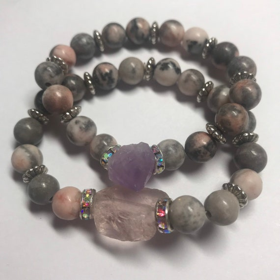 Rose Quartz Amethyst and Jasper Stack
