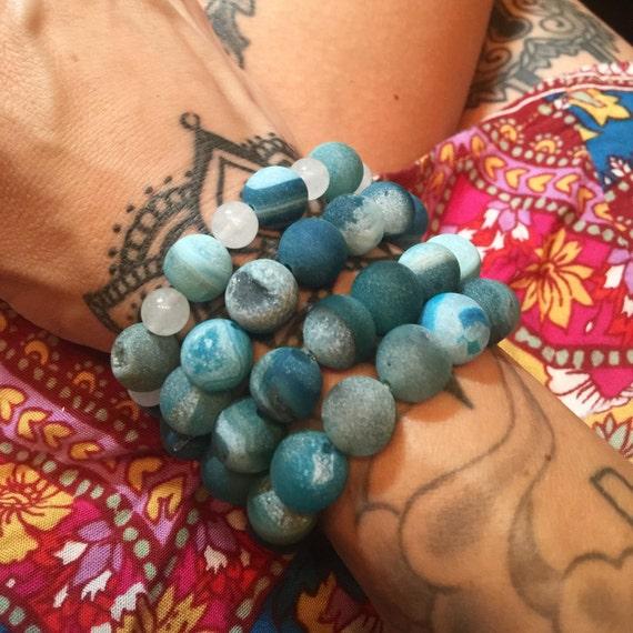 Beachy Blue Druzy Agate Bracelets