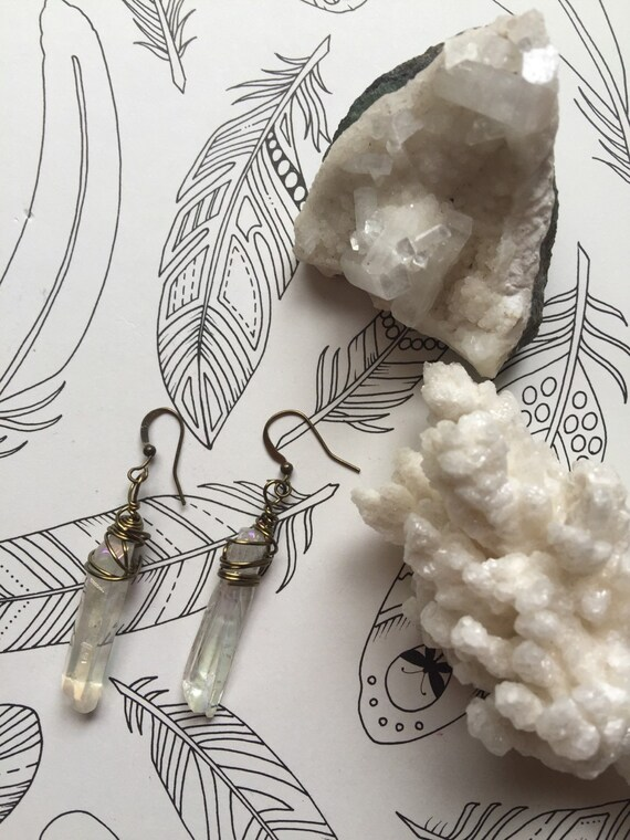 Angel Aura Quartz Dangle Earrings