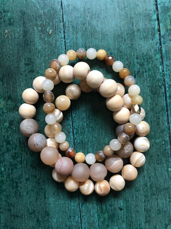 Golden Beach Gemstone Bracelet Set