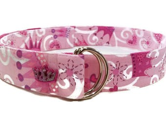 Girl's Pink Crown Print Fabric Belt