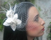 Velvet Kiss, Bridal Feather Hair Accessory, White Velvet Leaves, Sequins, Ostrich Feathers, Cocktail Party