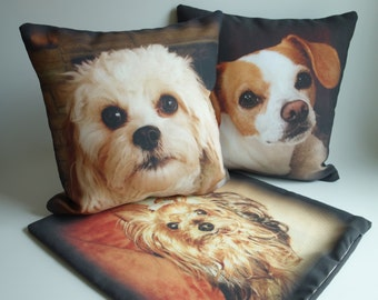 Custom Pet Photo Pillow, Dog Lover Bereavement Gift, Photo Pillow Cover