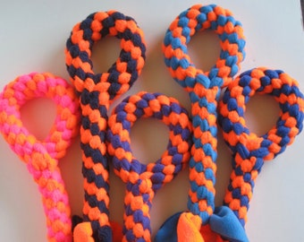 FREE SHIP Large Fleece rope Tugs Toy Chew with handle dogs Neon Orange