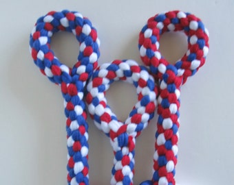 FREE SHIP Large Fleece rope Tugs Toy Chew with handle dogs Patriotic Red White Blue 4th of July
