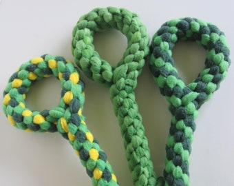 FREE SHIP Large Fleece rope Tugs Toy Chew with handle dogs Greens