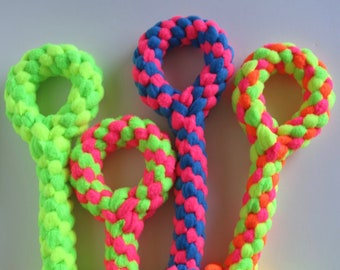 FREE SHIP Large Fleece rope Tugs Toy Chew with handle dogs Neon Green Yellow Pink Orange