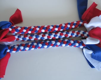 FREE SHIP Fleece rope dog tug chew fetch toy Extra Large Red White Blue 4th of July Patriotic