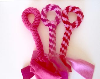 FREE SHIP Large Fleece rope Tugs Toy Chew with handle dogs Valentine's Day