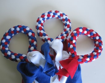 Free Ship Fleece dog tug chew fetch ring toy Patriotic 4th of July Independence Day Red White Blue