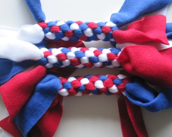 Fleece Tug Chew Toy Dogs Cats FREE SHIP Patriotic Red White Blue 4th of July