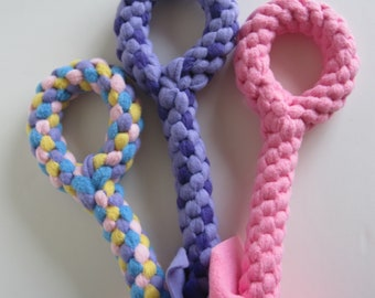 FREE SHIP Large Fleece rope Tugs Toy Chew with handle dogs Spring