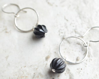 Renata - Black Jade Silver Hoop Bridesmaid Statement Earrings
