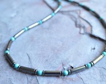 Cody - Turquoise Hematite Men's Beaded Necklace