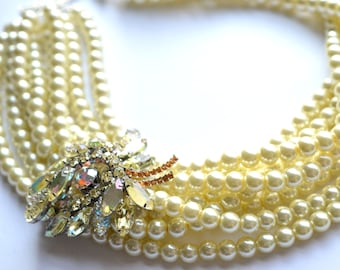 Hazel - Statement Necklace Ivory Pearl Necklace Bridal Necklace Rhinestone Necklace Brooch Necklace