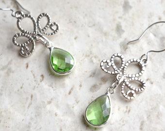 Imperial - Peridot Glass Silver Filigree Bridesmaid Statement Earrings