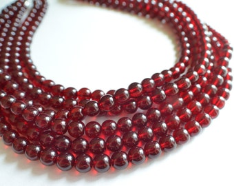 Michelle - Garnet Glass Statement Bridesmaid Multi Strand Necklace