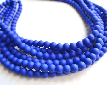 Michelle - Cobalt Blue Matte Bridesmaid Statement Necklace