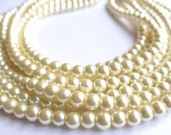 Michelle - Ivory Pearl Statement Necklace Bridesmaid Necklace Bridal Necklace Multi Strand Necklace