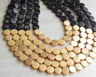 Black Gold Statement Necklace, Wood Beaded Necklace, Chunky Necklace, Gift For Her - Regan