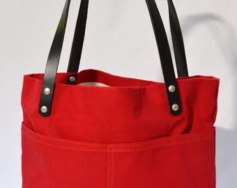 Red Handbag Red Tote Bag Canvas Handbag Black Handbag