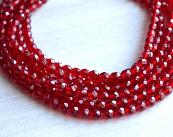 Rebecca - Garnet Glass Statement Bridesmaid Multi Strand Necklace