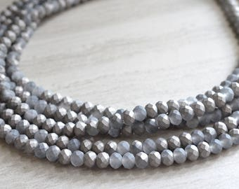 Aria - Gray Glass Statement Necklace