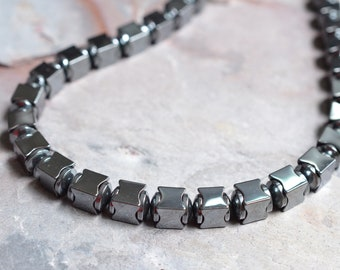Lincoln - Hematite Beaded Necklace Mens Necklace Gifts for Men Fathers Day Gifts