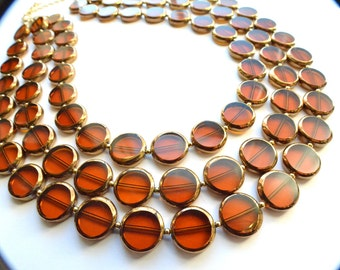 Charlotte - Brown Gold Glass Statement Necklace