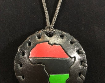 Small Black Classic Pan African Leather Medallion