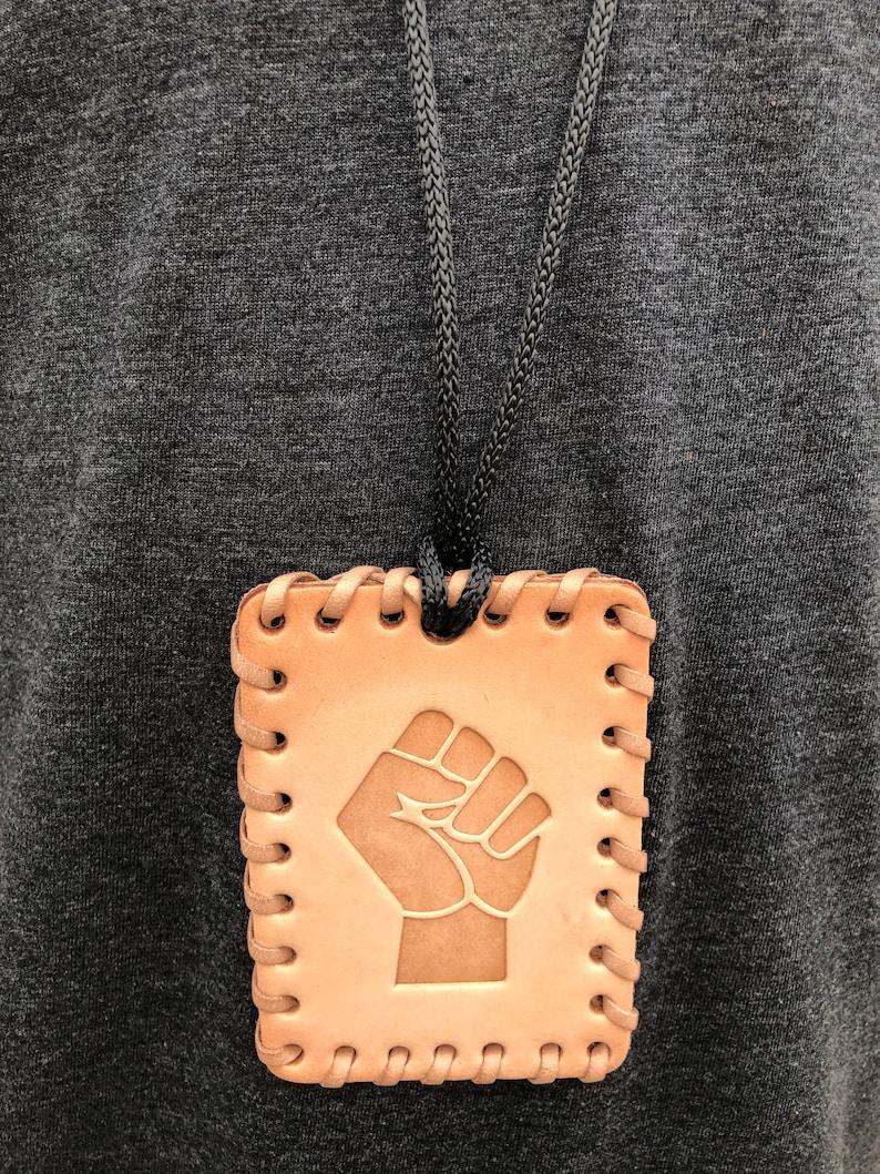 Pan African Struggle Fist Medallion Necklace Natural