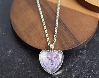 Cemetery Skull Heart Pendant Necklace