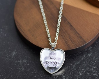 Silver Angel Heart Pendant Necklace