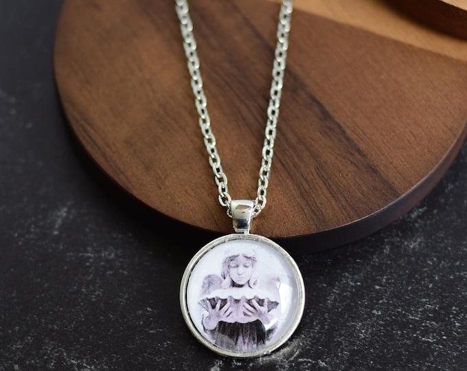 Antique Silver Angel Pendant Necklace