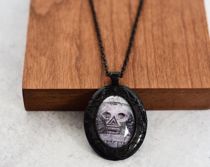 Victorian Skull Cameo Pendant Necklace