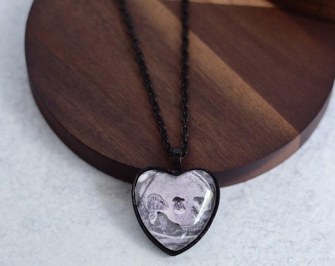 Black Skull Heart Pendant Necklace