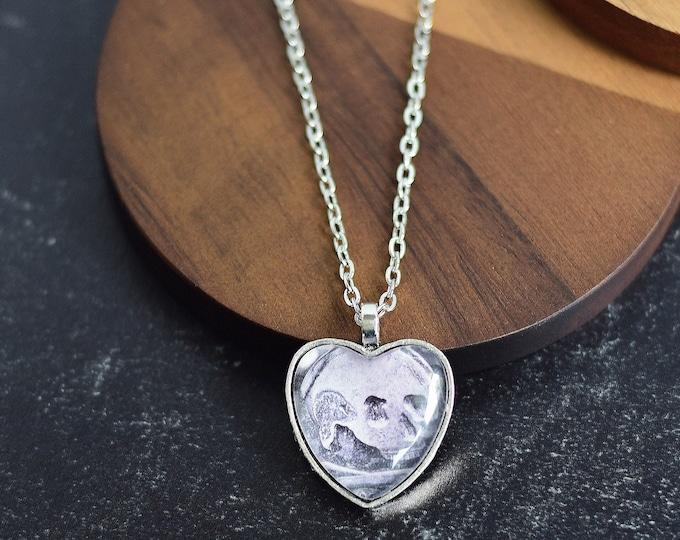 Skull and Crossbones Heart Pendant Necklace
