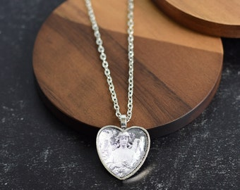 Antique Silver Angel Heart Necklace