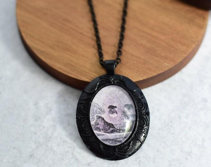 Black Skull Cameo Necklace