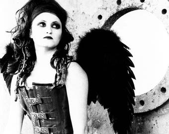 Gothic Angel Photography, gothic photography, dark angel, black and white photography