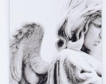 Black and White Angel Photo Refrigerator Magnet, black and white photography, angel photography, angel statue