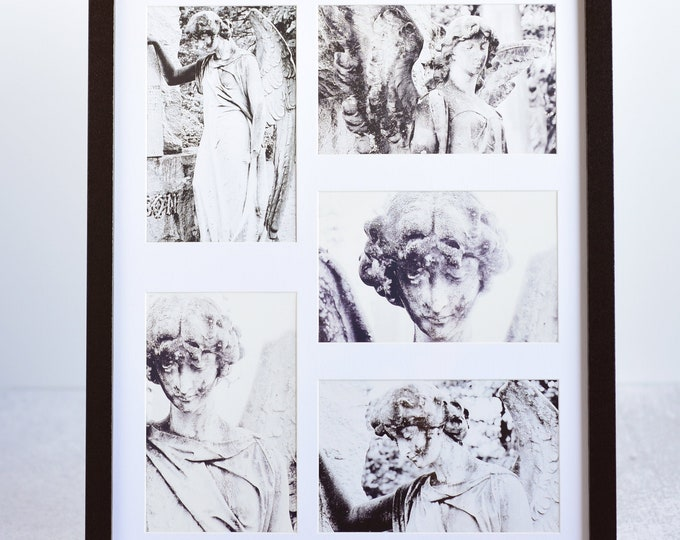 Cemetery Angel Statue Matted Postcard Collage