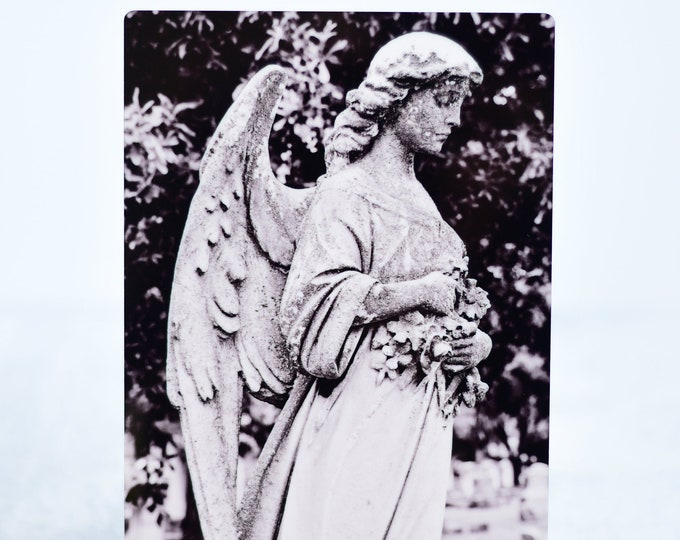 Black and White Cemetery Angel Metal Print
