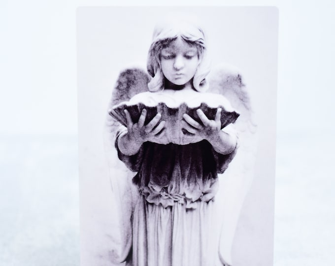 Black and White Cemetery Angel Metal Art Photograph