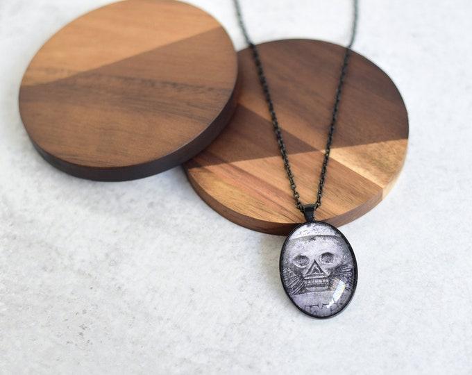 Black Cemetery Skull Pendant Necklace