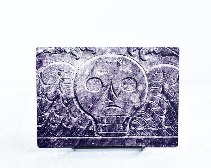 Black and White Cemetery Headstone Metal Art Print