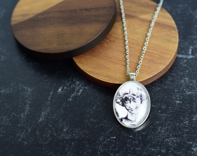 Silver Cemetery Angel Pendant Necklace