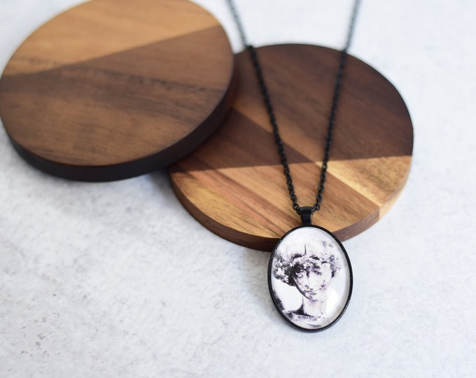 Black and White Angel Pendant Necklace