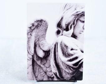 Black and White Angel Statue Metal Art Print